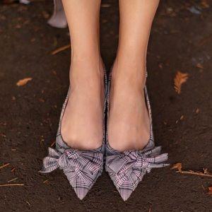 Zara plaid bow kitten heel slingbacks sz. 39/8.5